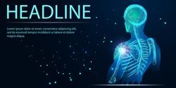 Shoulder painful. Skeleton, 3D Illustration medical concept. Polygonal vector. Headline
