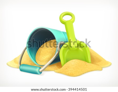 shovel and bucket in the sand