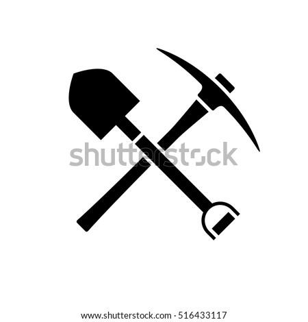shovel and pickaxe icon black