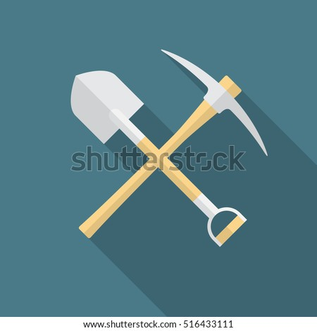shovel and pickaxe icon with