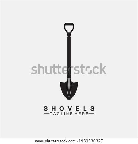 Shovel icon logo vector illustration design.Black Shovel icon logo isolated on white background. Shovel silhouette. Gardening tool. Tool for horticulture, agriculture, farming. Logo design template el Stock photo ©