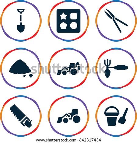 shovel icons set set of 9