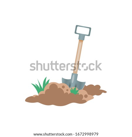 Shovel in dirt, spade with soil landscaping isolated on background. Garden tools, digging element, equipment for farm. Spring work. Vector cartoon flat design Stock fotó ©
