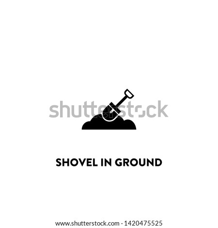 shovel in ground icon vector. shovel in ground sign on white background. shovel in ground icon for web and app