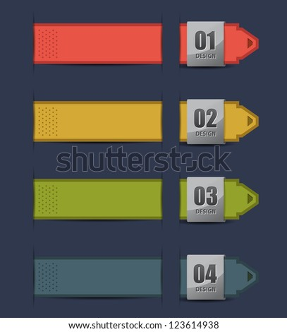 Show colorful ribbon products design, vector illustration  / numbered banners