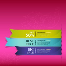 Show colorful ribbon promotional products design, vector illustration