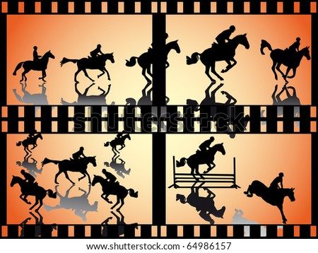 show jumper with shadow in a film strip