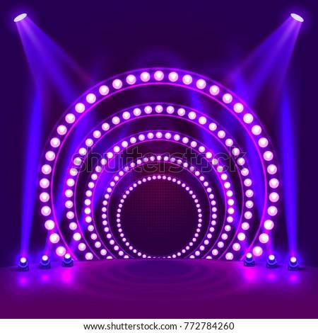 Shutterstock Show light podium purple background. Vector illustration