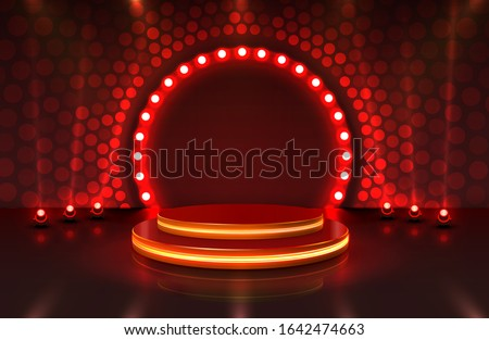 Show light, Stage Podium Scene with for Award Ceremony on red Background. Vector illustration