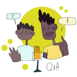 Show questions and answers, vector flat style. Black man interviews guest, podcasting collaboration. Two bloggers live streaming, talking with followers.