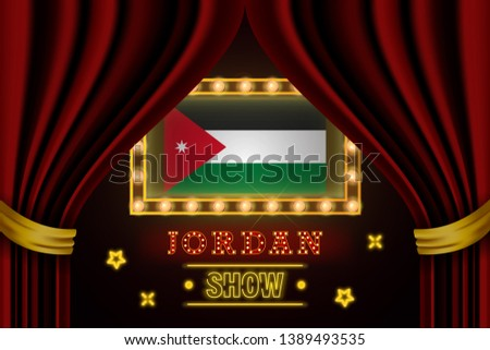 Show time board for performance, cinema, entertainment, roulette, poker of Jordan country event. Shining light bulbs vintage of Jordan country name