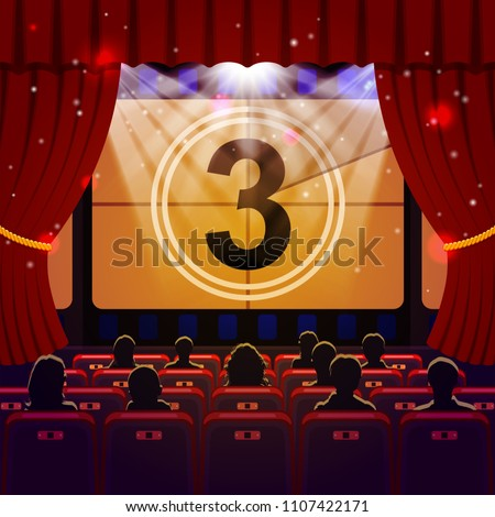 Show Time Concept. Cinema and Theatre hall with seats, silhouettes and countdown on screen. Vector illustration