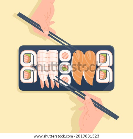 Show two hands holding chopsticks will take sushi, sushi illustration concept vector, delicious sushi for dinner. Illustration of japanesse various sushi in plate vector in isolated yellow background.