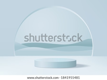Showcase 3d podium minimal scene with geometric platform. showcase background vector 3d rendering with podium. stand to show cosmetic product. Stage show on podium platform 3d studio blue pastel