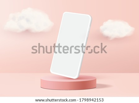 showcase display minimal scene with geometric smartphone. Background vector 3d rendering with podium showcase. stand to show mobile device mockup. Stage showcase display on pedestal 3d studio pink