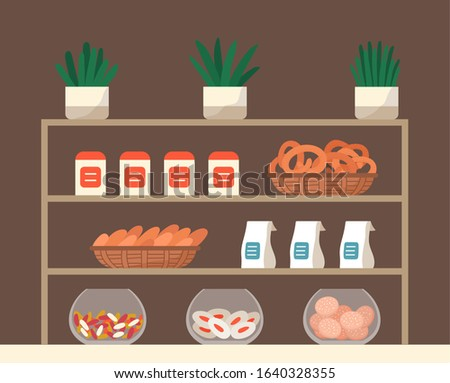Showcase with confectionery inside. Biscuits, cookies and candies on rack in market or bakery. Delicious pastry on stand, tasty pretzels and kringles. Vector illustration of sweeties in flat style