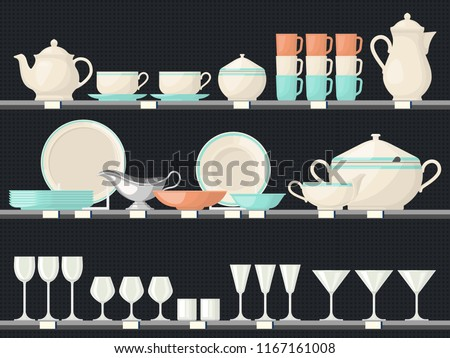 Showcase with glassware dish or shelves at kitchen with food accessory or crockery. Wine glass and cup, teapot and plate at shop or market, store. Kitchenware and utensil, cutlery and meal, food theme