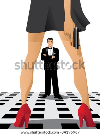 Showdown A woman faces a man. She hides a gun. EPS 8 vector cleanly built with no open shapes or strokes.