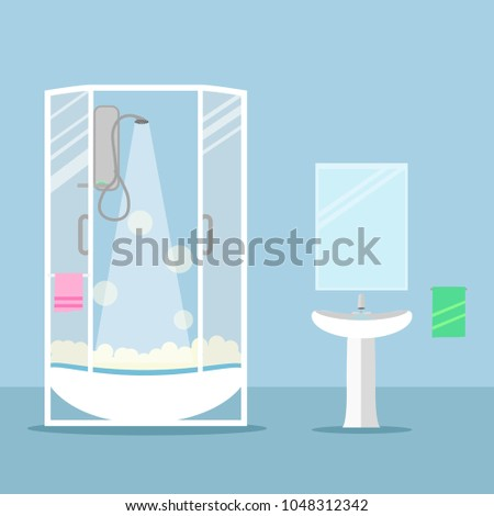 Shower, bath cabin, modern faucet and ceramic white sink with water tap isolated on background. Mirror, bathing equpment Furniture for toilet, bathroom interior. Vector illustration. Flat style design