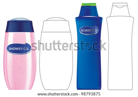 Shower gel and Shampoo bottles with outlines