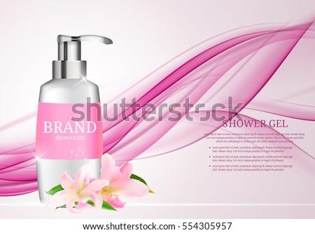 Shower Gel Bottle Template for Ads or Magazine Background. 3D Realistic Vector Iillustration. EPS10.