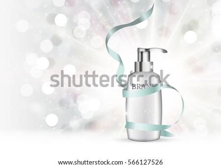 Shower Gel Bottle Template for Ads or Magazine Background. 3D Realistic Vector Iillustration. EPS10 #566127526