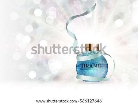 Shower Gel Bottle Template for Ads or Magazine Background. 3D Realistic Vector Iillustration. EPS10 #566127646