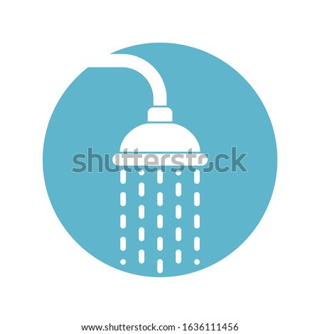 Shower head icon with trickles water. Douche sign in the circle isolated on white background. Shower or bathroom symbol. Vector illustration