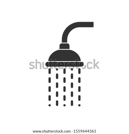 Shower head trickling water graphic icon. Douche sign isolated on white background. Shower or bathroom symbol. Vector illustration