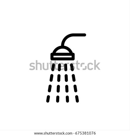 shower icon in trendy flat