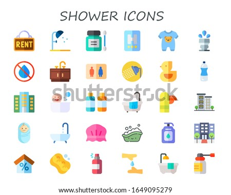 shower icon set. 30 flat shower icons.  Simple modern icons such as: rent, antiseptic, hotel, onesie, sprinkler, no water, bathroom, ducky, water, apartment, soaps, bathtub, duck