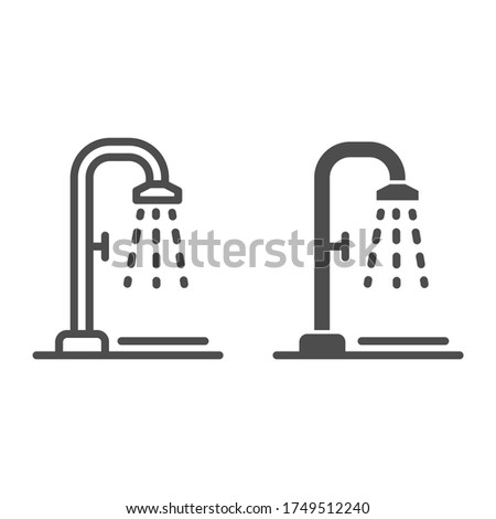 Shower line and solid icon, Summertime concept, beach shower sign on white background, Public shower icon in outline style for mobile concept and web design. Vector graphics