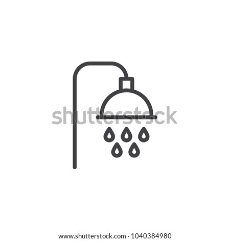 Shower outline icon. linear style sign for mobile concept and web design. Showerheads simple line vector icon. Symbol, logo illustration. Pixel perfect vector graphics