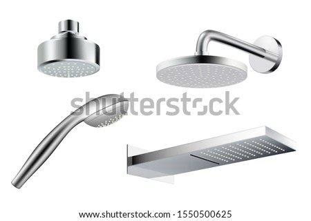 Shower realistic. Metalic shower head template water splash vector pictures isolated
