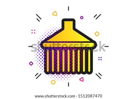 Shower sign icon. Halftone dots pattern. Douche with water drops symbol. Classic flat shower icon. Vector