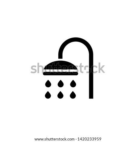 Shower Sprinkler Spray. Flat Vector Icon illustration. Simple black symbol on white background. Shower Sprinkler Spray sign design template for web and mobile UI element