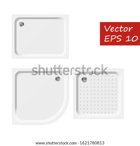 Shower trays for interior layouts. Bathroom. The plan of the interior. Vector graphics.
