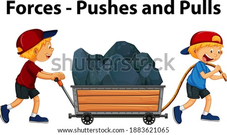 Showing pushes and pulls force example with kids character illustration Stock photo ©