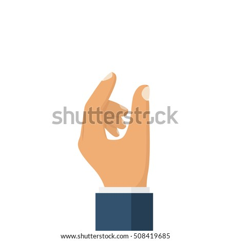 Showing small size. Man makes a gesture with his hands. Template for use of objects. Vector illustration flat design. Isolated on white background. Empty space for demonstrations.