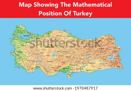 showing the physical map of Turkey with mountains, brown plains, green Stok fotoğraf ©