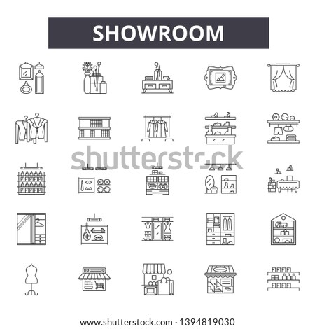 Showroom line icon signs.  Linear vector outline illustration set concept.