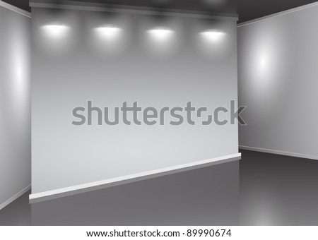 showroom with empty wall and light