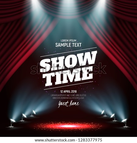Showtime banner with curtain illuminated by spotlights. Vector illustration.