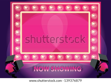 Showtime Retro neon board Board Framed With Shining LED Lamps