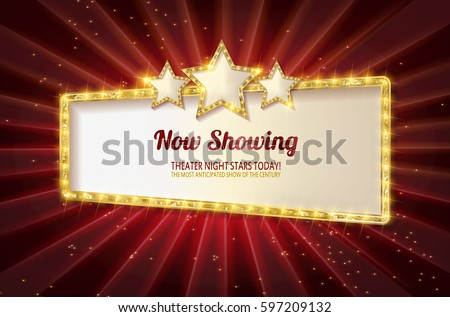 Showtime Retro Signs. Retro billboard with neon lights illustration. On a red curtain