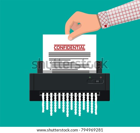 Shredder machine. Office device for destruction of documents. Vector illustration in flat style Foto stock ©
