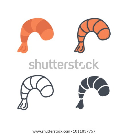Shrimp flat line silhouette vector icon