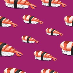 shrimp sushi japanese food pattern icon seamless Background vector
