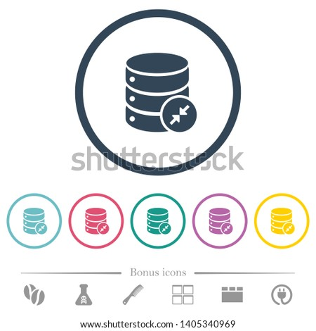 Shrink database flat color icons in round outlines. 6 bonus icons included.