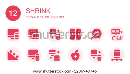 shrink icon set. Collection of 12 filled shrink icons included Responsive, Expand, Crank arm, Gravity